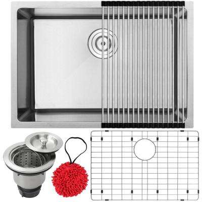 Arlo Undermount 18-Gauge Stainless Steel 26 in. Single Bowl Kitchen Sink with Accessory Kit