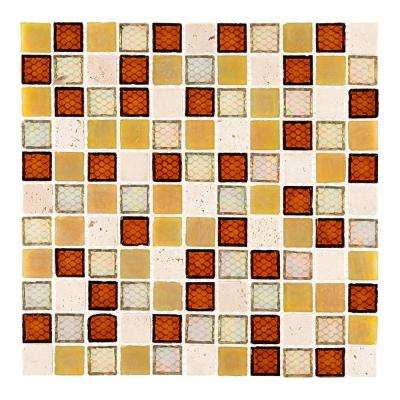 Harvest Noce 12 in. x 12 in. x 6 mm Glass Travertine Mosaic Tile