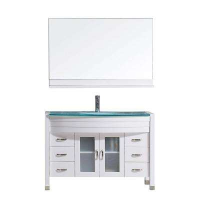 Ava 47 in. W Bath Vanity in White with Glass Vanity Top in Aqua Tempered Glass with Round Basin and Mirror and Faucet