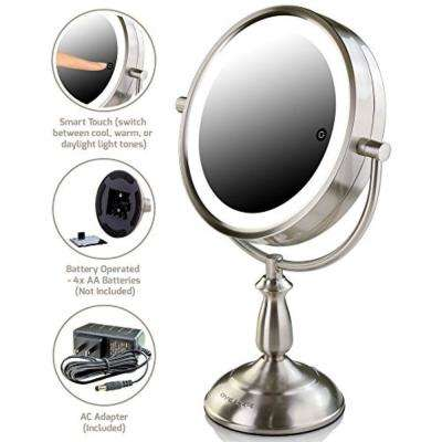 LED Lighted Tabletop Vanity Mirror, Battery or Cord Operated, (Nickel Brushed), 1x or 10x Magnification