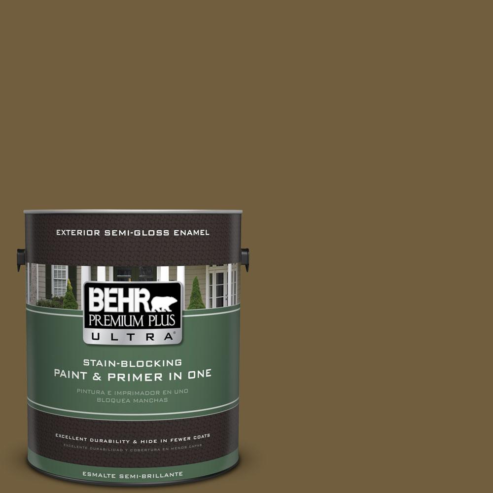 1-gal. #360F-7 Olive Shadow Semi-Gloss Enamel Exterior Paint