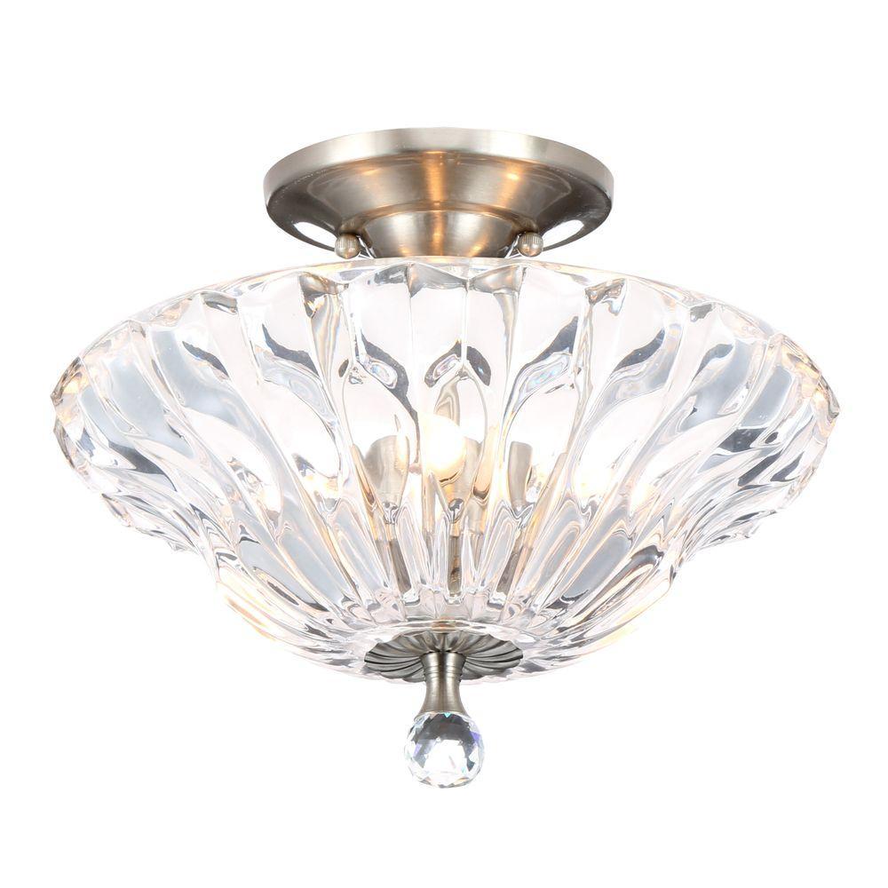 Meridith 3-Light Polished Chrome Crystal Semi-Flush Mount Light