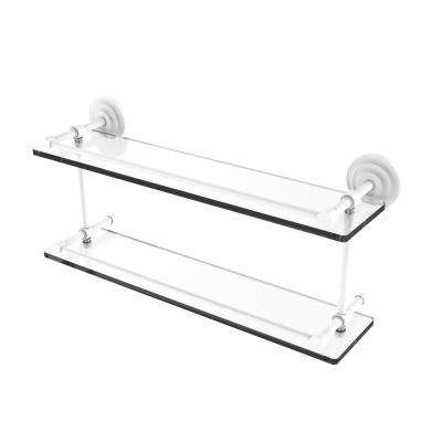 Que New 22 in. Double Glass Shelf with Gallery Rail in Matte White