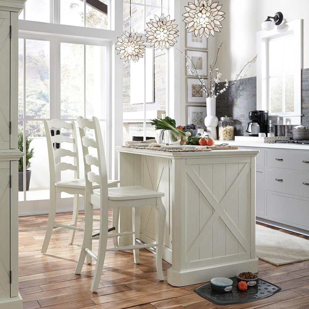 Homestyles Seaside Lodge Hand Rubbed White Kitchen Island And 2 Stools With With Granite Top 5523 948 The Home Depot