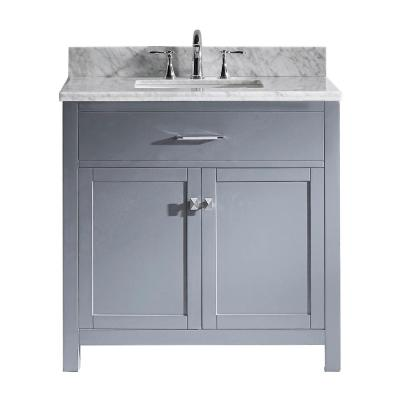 Caroline 36 in. W Bath Vanity in Gray with Marble Vanity Top in White with Square Basin