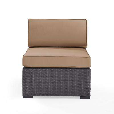 Biscayne Wicker Armless Middle Outdoor Sectional Chair with White Cushions