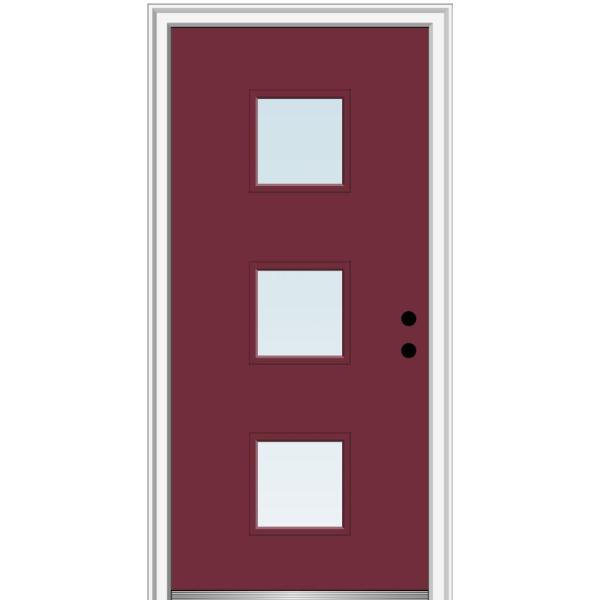 Mmi Door 32 In X 80 In Aveline Left Hand Inswing 3 Lite Clear Low E Glass Painted Steel Prehung Front Door On 6 9 16 In Frame Z0354201l The Home Depot