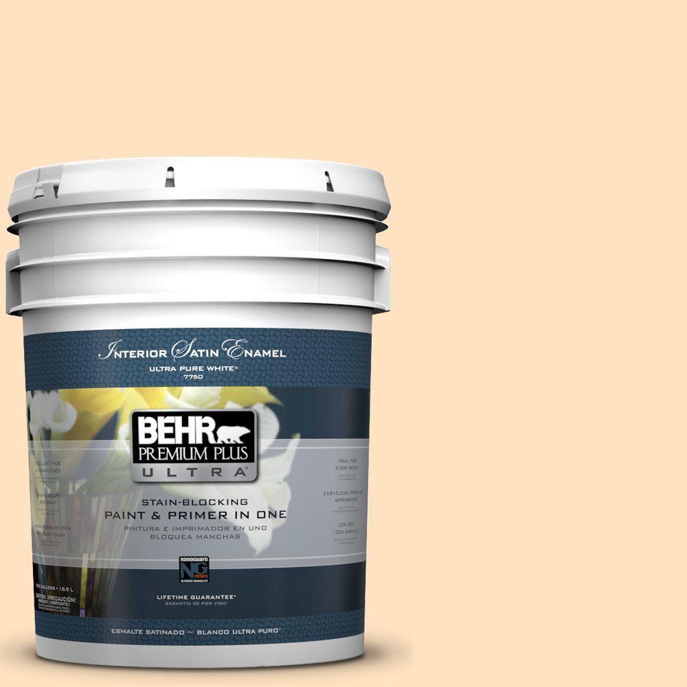 BEHR Premium Plus Ultra 5-gal. #P240-1 Cheese Powder Satin Enamel Interior Paint