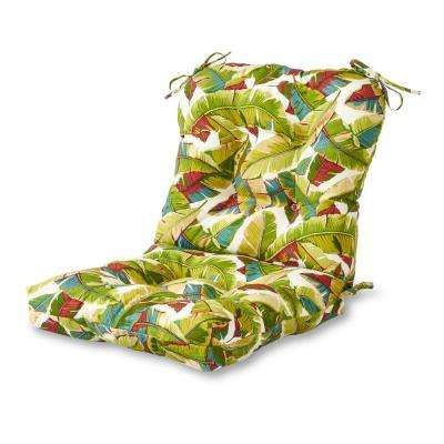 Greendale Home Fashions Palm Leaves Multi Outdoor Dining Chair Cushion Oc5815 Palm Multi The Home Depot