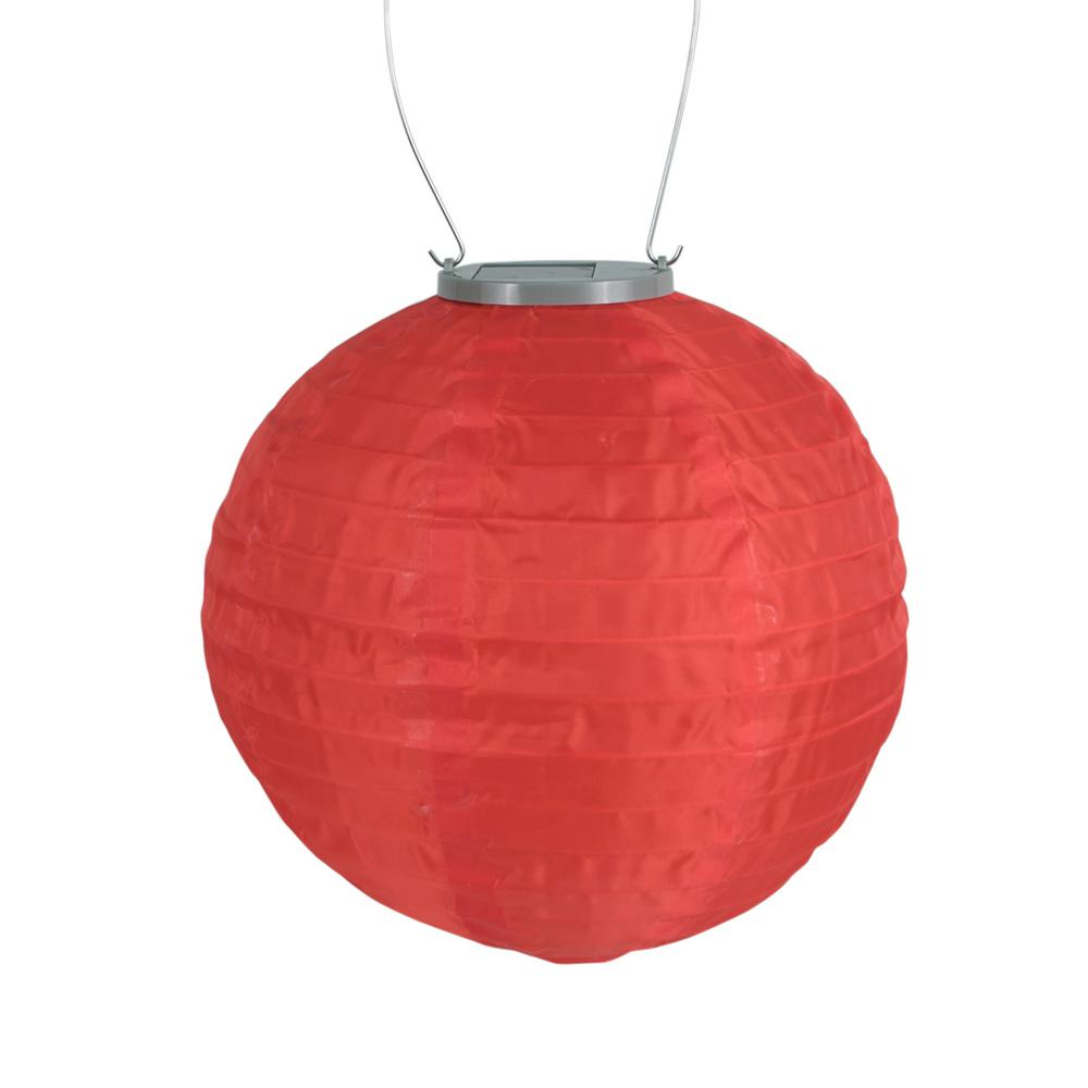 Glow 10 In Red Round Integrated Led Hanging Outdoor Nylon Solar Lantern