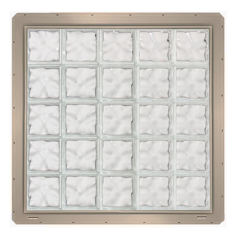 CrystaLok 39.25 in. x 39.25 in. x 3.25 in. Wave Pattern Glass Block ...