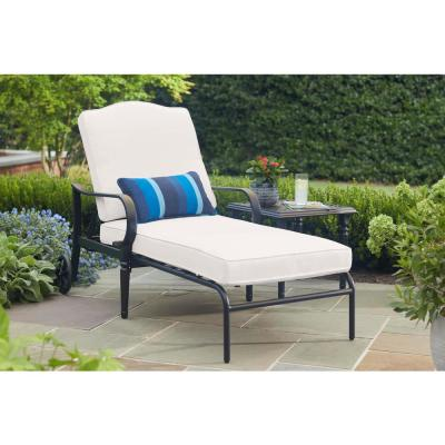 Laurel Oaks Brown Steel Outdoor Patio Chaise Lounge with CushionGuard Chalk White Cushions