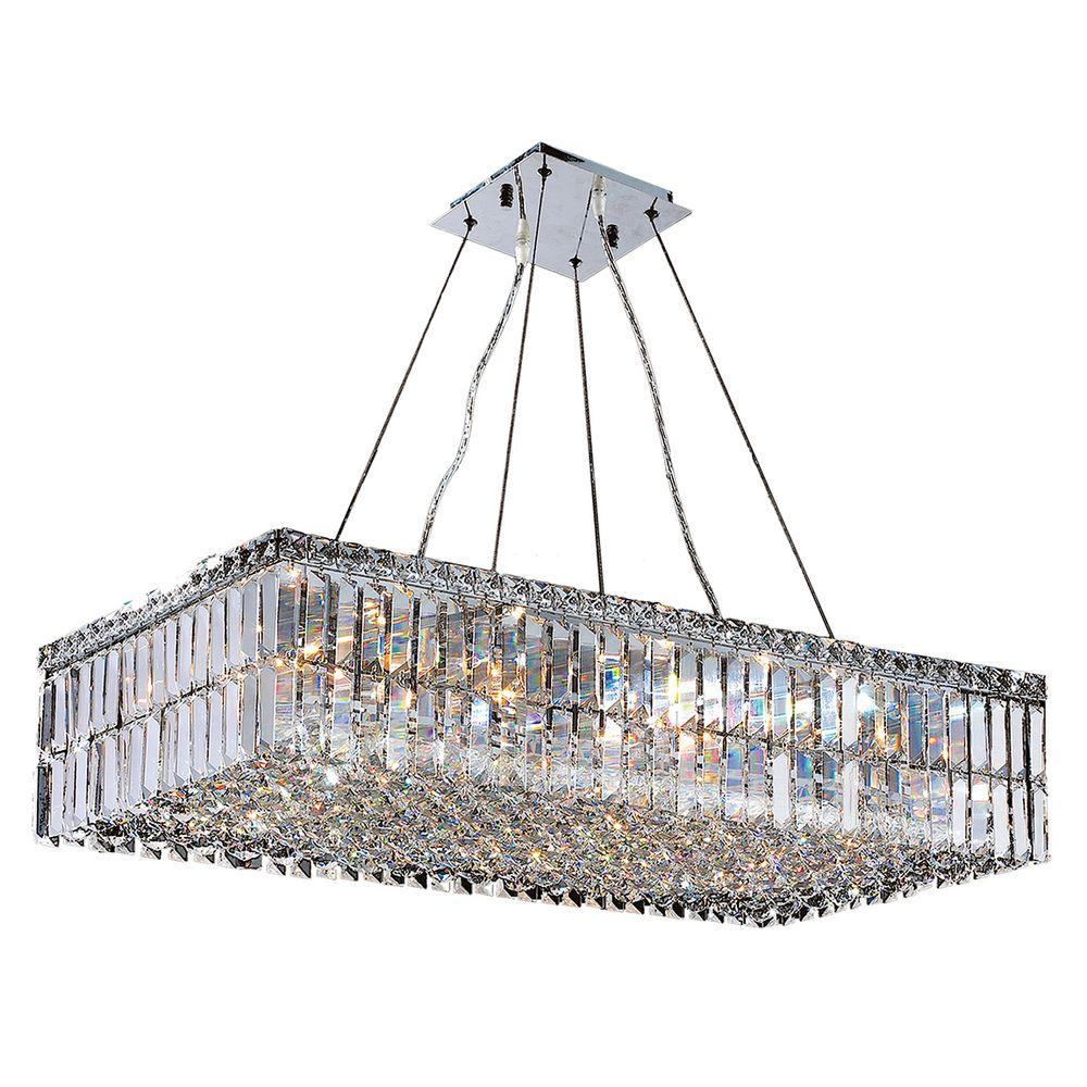 Worldwide Lighting Cascade 16 Light Chrome With Clear Crystal Rectangle Chandelier