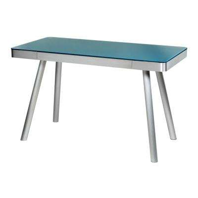 Cool Blue Glass Writing Desk with Brushed Aluminum Frame
