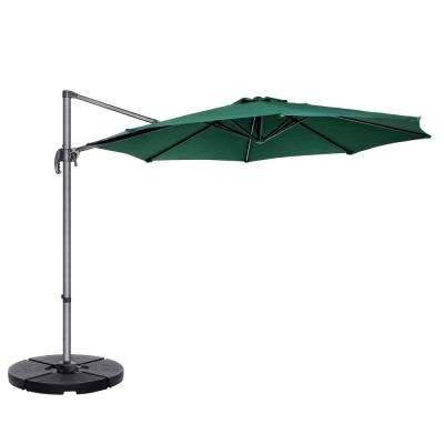10 ft. Steel Cantilever Tilt Patio Umbrella in Green