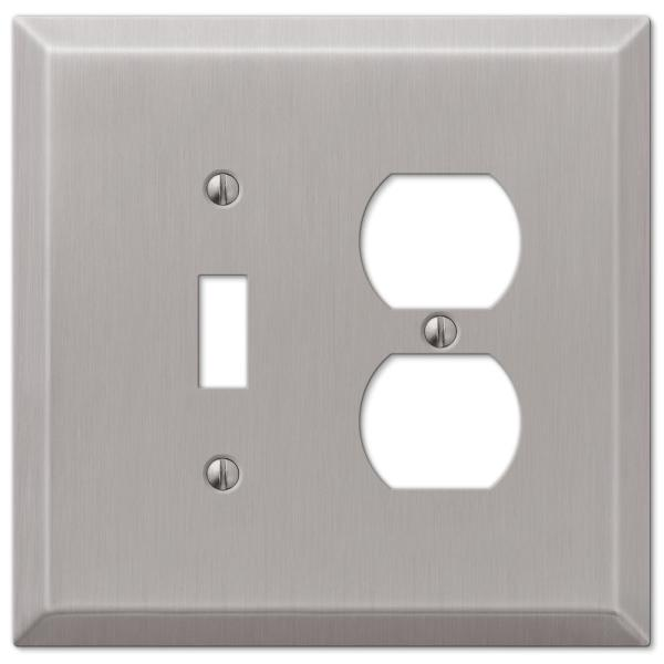 Oversized 2 Gang 1-Toggle and 1-Duplex Steel Wall Plate - Brushed Nickel
