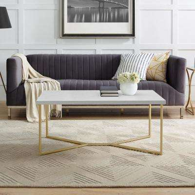 42 in. Y-Leg Coffee Table in White Faux Marble/Gold