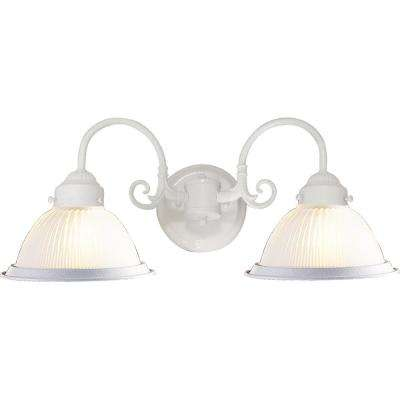 Roth 4.5 in. 2-Light Indoor Textured White Wall Mount Sconce with Frosted Ribbed Glass Bowl Shades