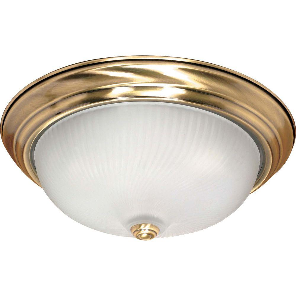 Glomar Elektra 3-Light Antique Brass Flushmount