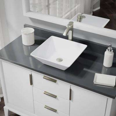 Porcelain Vessel Sink in White with 7006 Faucet and Pop-Up Drain in Brushed Nickel