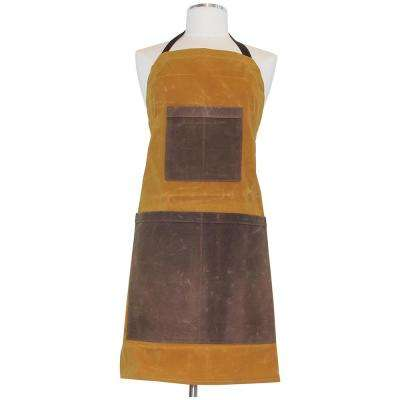 Waxed Canvas Two-toned Utility Apron Yellow & Khaki