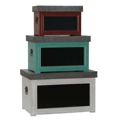 Multi-Colored Chalk Board Trunk Set (3-Piece)