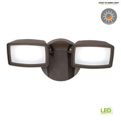 Bronze Outdoor Integrated LED Security Flood Light with Dusk to Dawn Photocell Sensor, 5000K Daylight