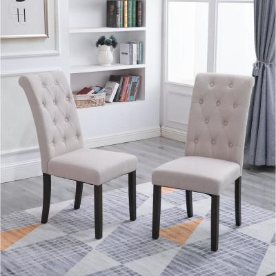 Beige Noble and Elegant Solid Wood Tufted Dining Chair (Set of 2)