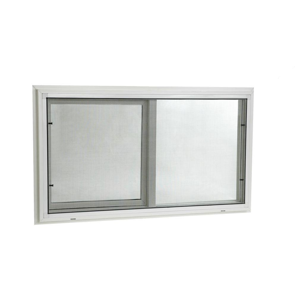 Left Handed Sliding Vinyl Windows With Dual Pane Insulated Gl White