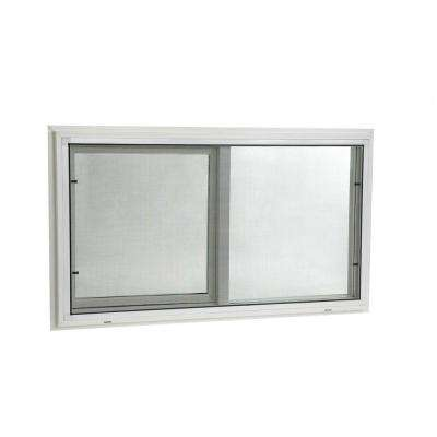 Single Sliding Vinyl Window White with Dual Pane Insulated Glass