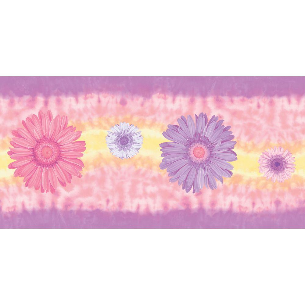 The Wallpaper Company 9 in. x 15 ft. Mid-Tone Tie Dye Daisy Border