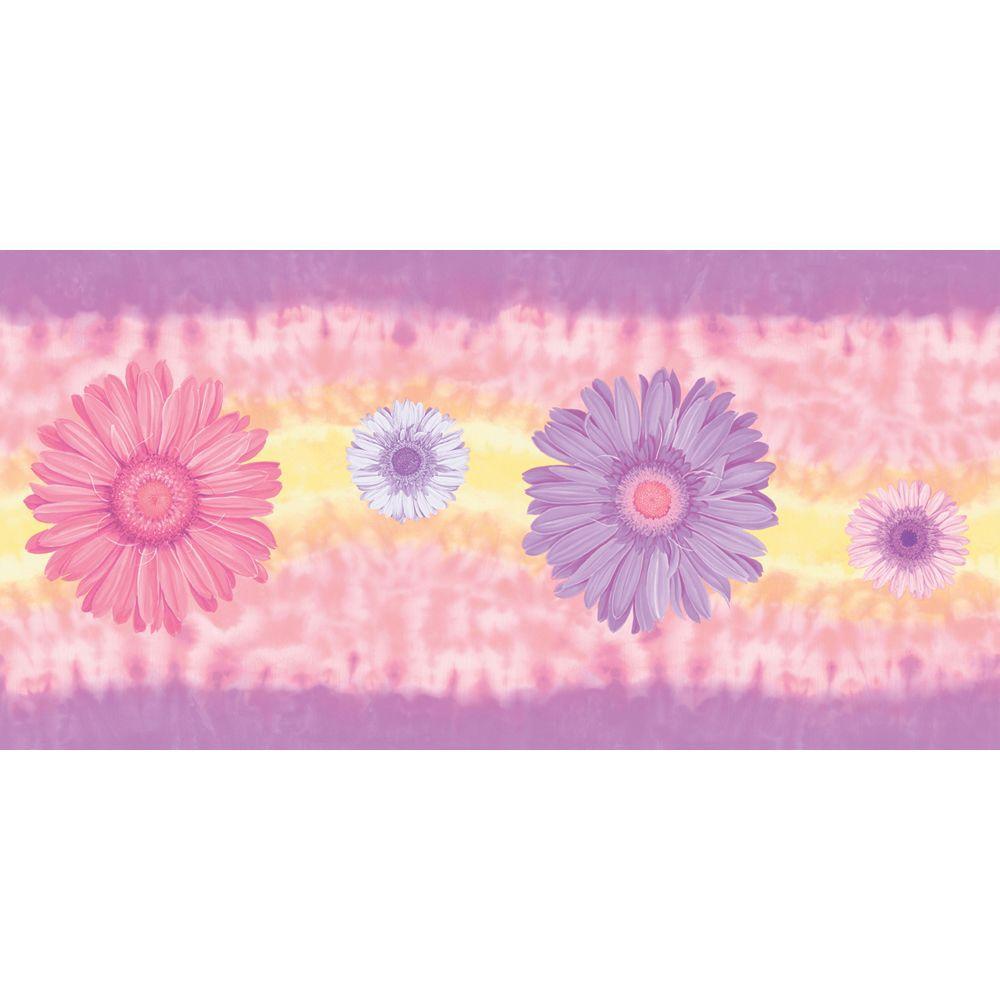 The Wallpaper Company 9 in. x 15 ft. Mid-Tone Tie Dye Daisy Border