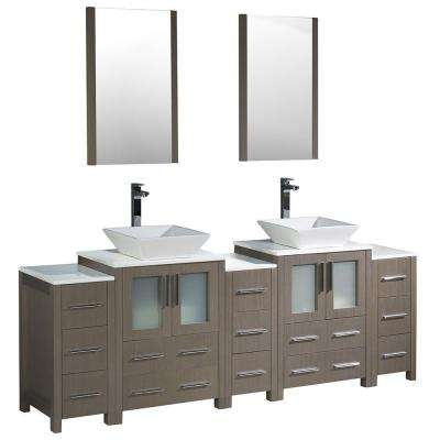 Torino 84 in. Double Vanity in Gray Oak with Glass Stone Vanity Top in White with Basin, Mirrors and 3 Side Cabinets