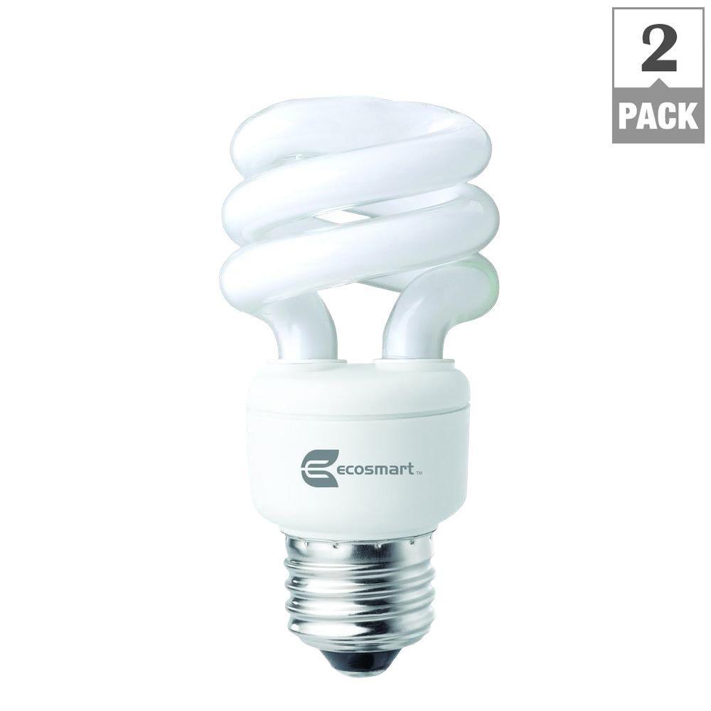 40-Watt Equivalent E26 Spiral CFL Light Bulb Daylight (2-Pack)