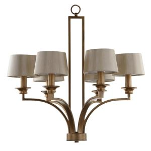 Mindy Craftsman 6-Light Antique Gold Chandelier with Cream Cotton Shades
