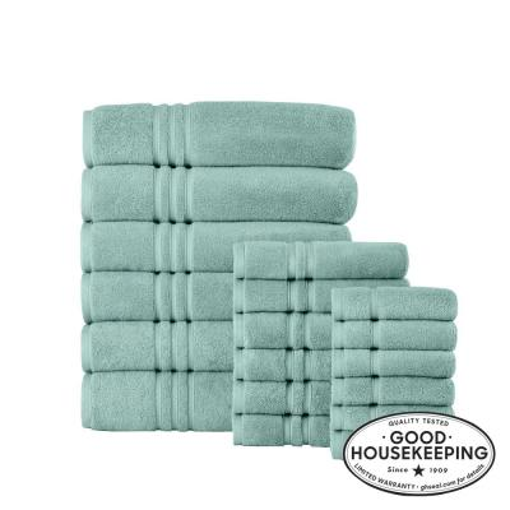 Turkish Aqua Cotton Ultra Soft 18-Piece Bath Sheet Towel Set