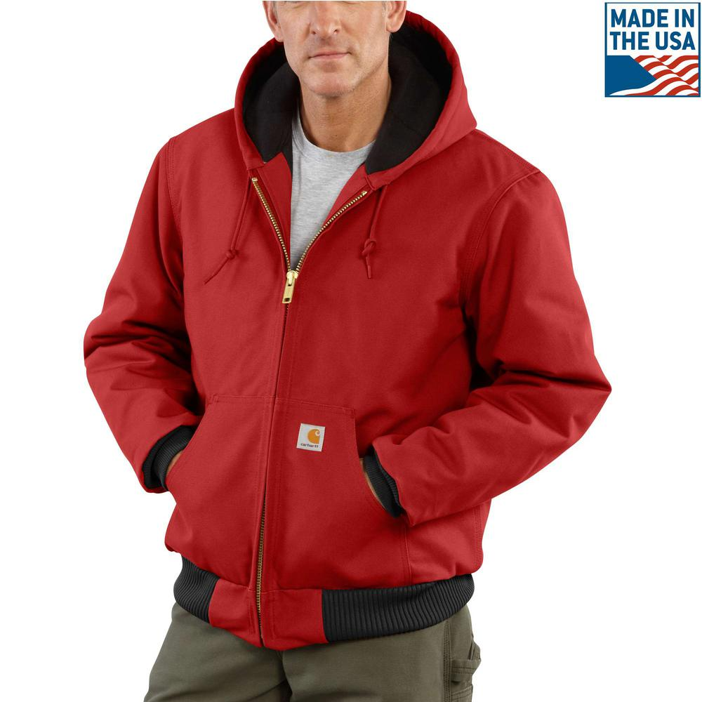 Men's Small Red Cotton Quilted Flannel Lined Duck Active Jacket