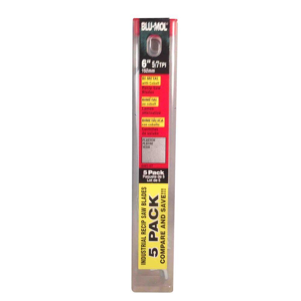 6 in. x 3/4 in. x 0.050 in. 5/7 Teeth per in. Wood Cutting Bi-Metal Reciprocating Saw Blade (5-Pack)