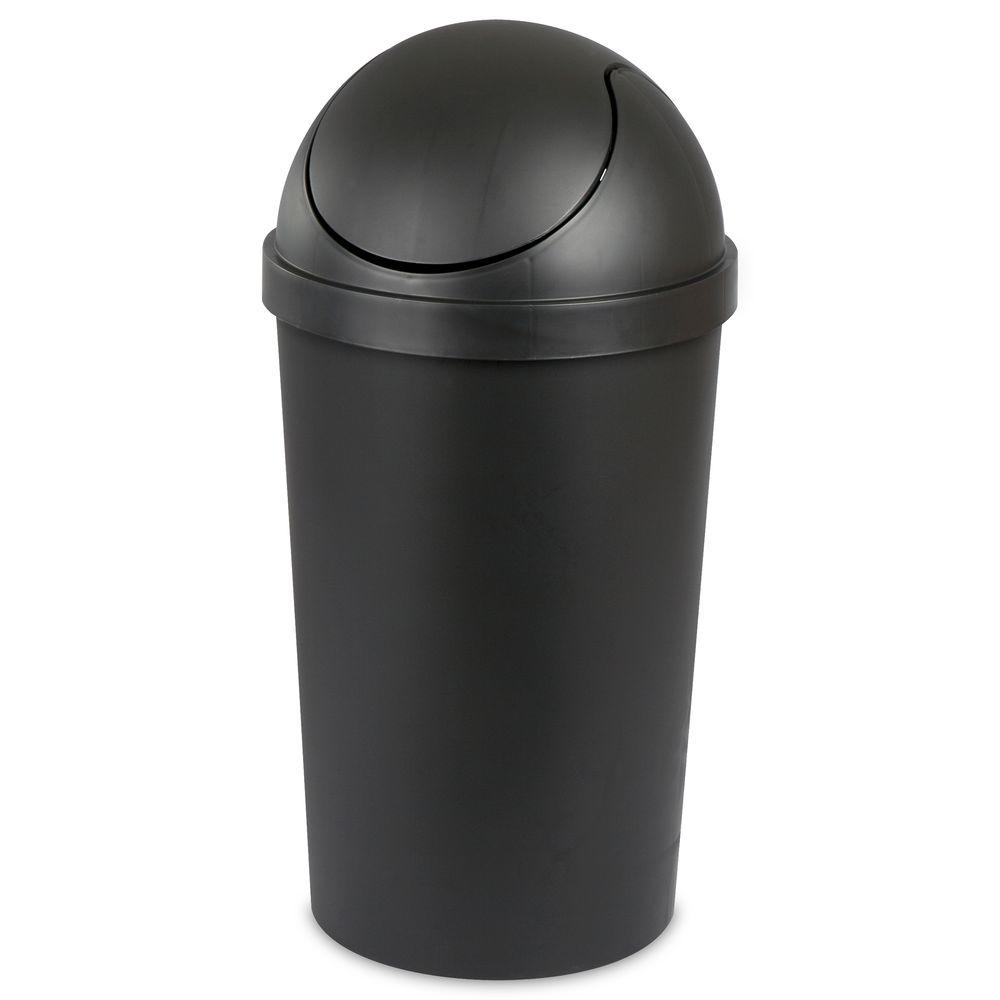 Black Round Swing Top Trash Can 10869004 The Home Depot
