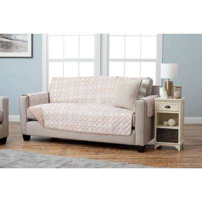 Adalyn Collection Taupe Printed Reversible Sofa Furniture Protector