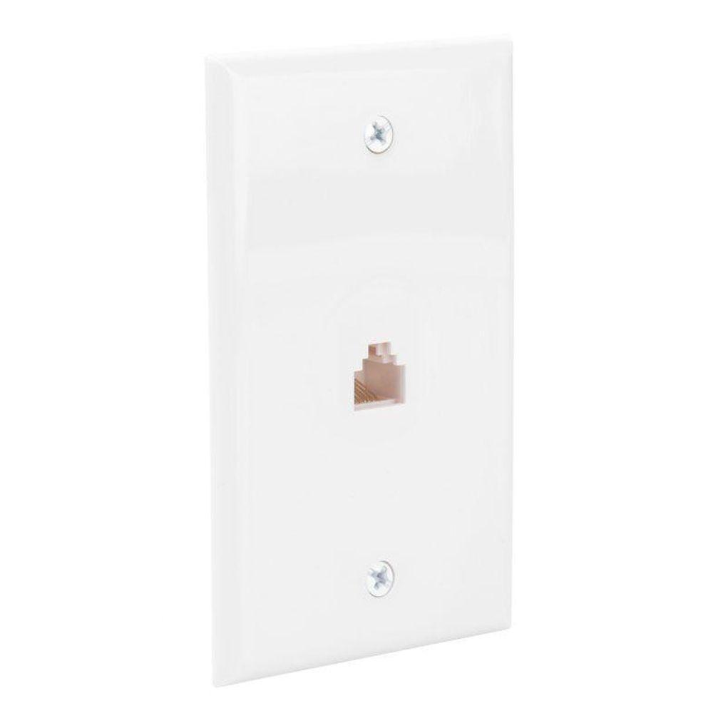 commercial electric ethernet wall plate white 216 8c the home depot. Black Bedroom Furniture Sets. Home Design Ideas