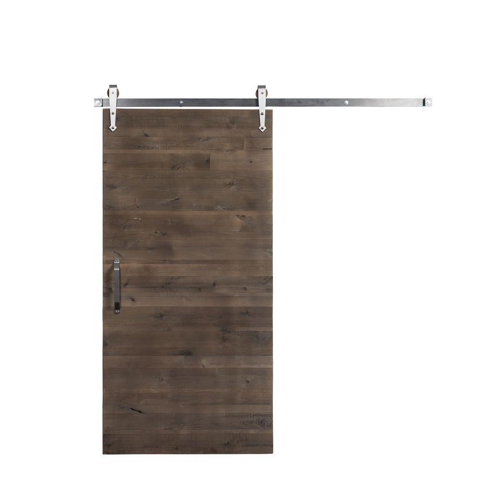rustica hardware 36 in x 84 in rustica reclaimed home depot gray wood barn door with arrow. Black Bedroom Furniture Sets. Home Design Ideas