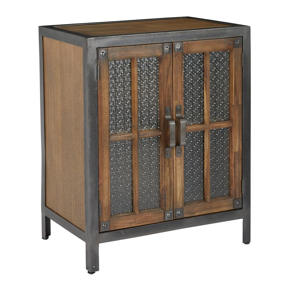 Catania Alder Brown Console 2-Door with Rustic Metal