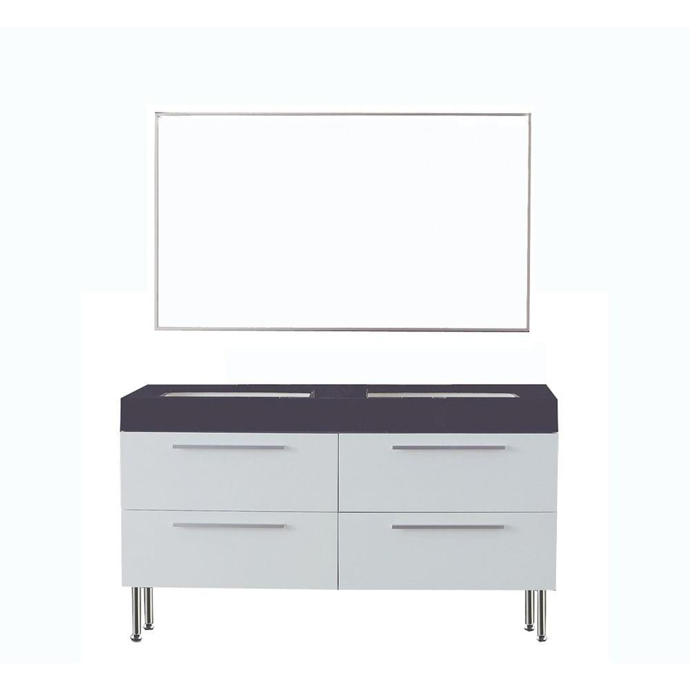 null Dreamwerks 55 in. Contemporary Vanity in Premium White with Marble Vanity Top in Black