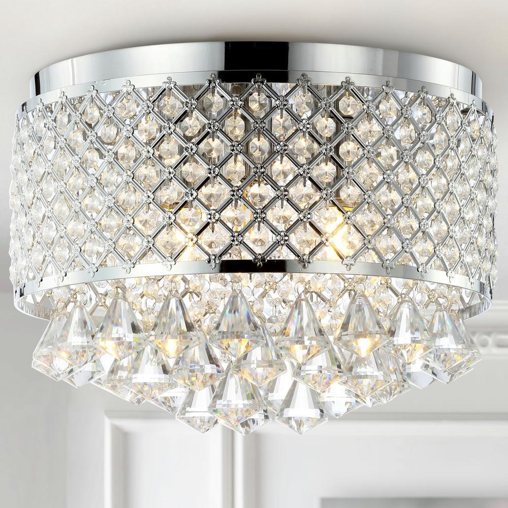 Evelyn 14.7 in. 3-Light Crystal Drops/Metal LED Flush Mount, Chrome