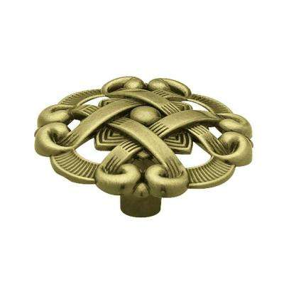 1-1/2 in. (38 mm) Antique Brass Weave Pattern Round Cabinet Knob