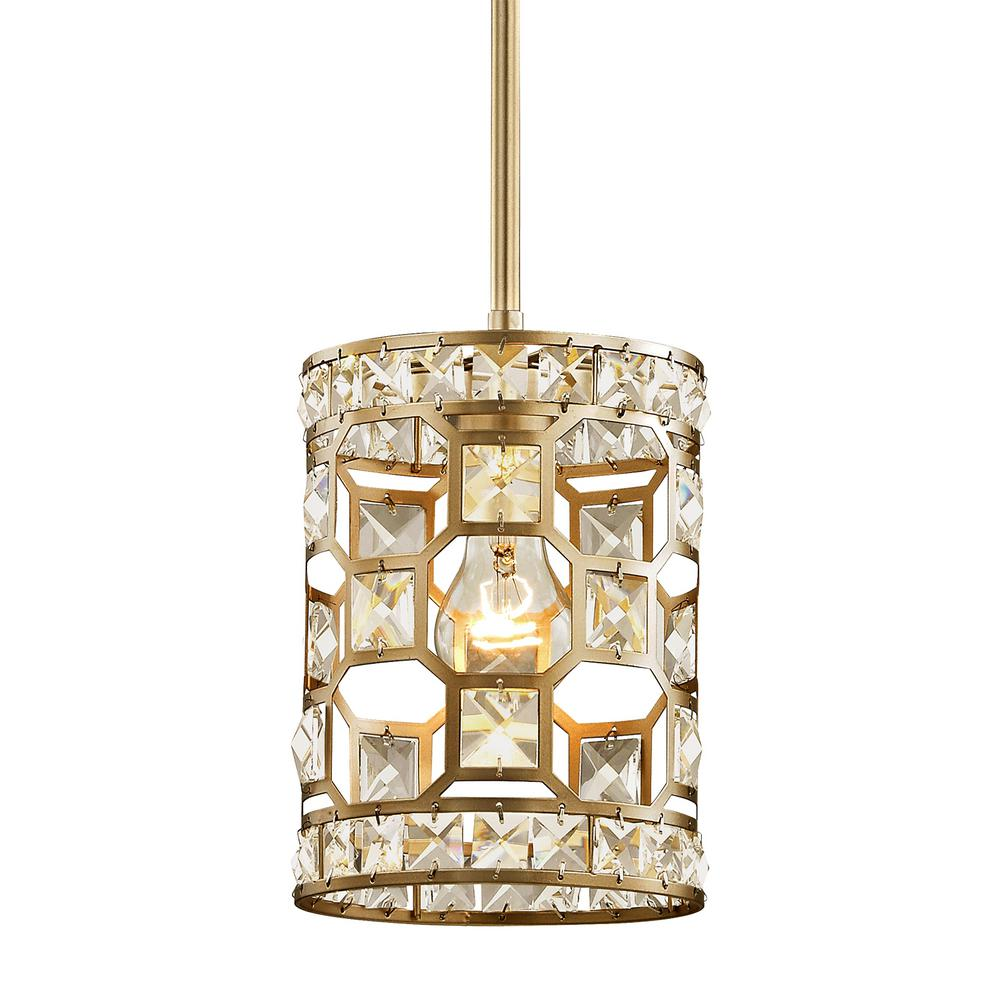 Fifth And Main Lighting Paris 1 Light Champagne Gold With Clear Crystal Mini Pendant
