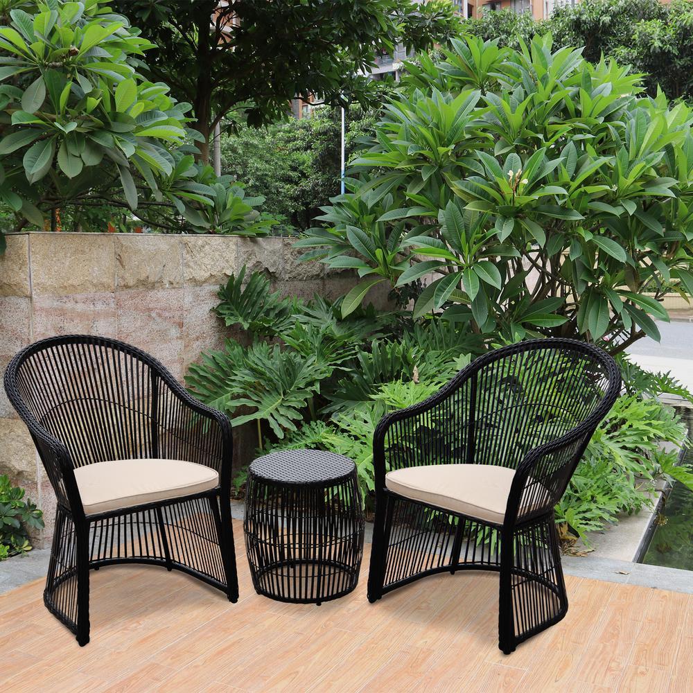 Black 3 Piece Wicker Outdoor Conversation Set With Beige Cushions