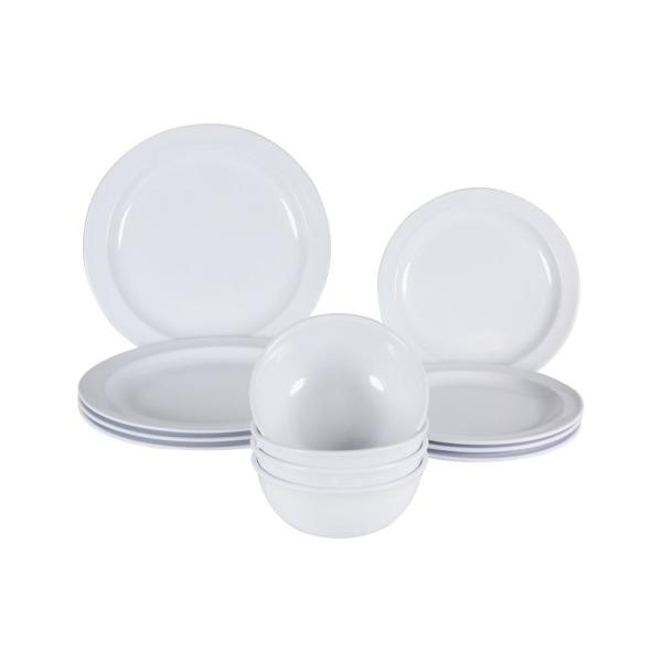 Restaurant Essentials Nustone 12-Piece White Dinnerware Set