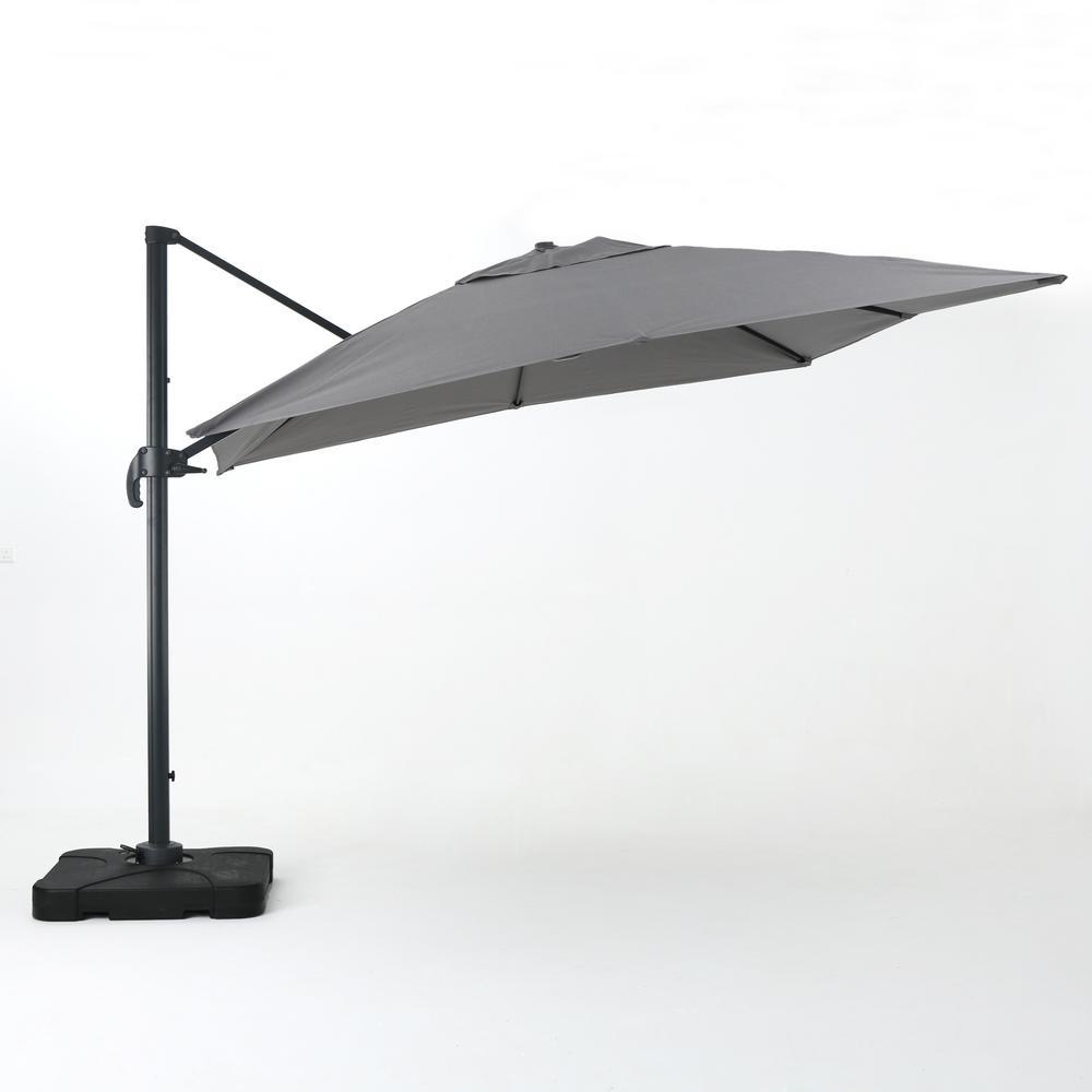 9.83 ft. Aluminum Cantilever Patio Umbrella in Gray
